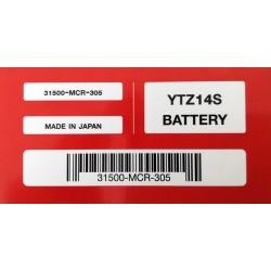 31500-MCR-305 : Honda YTZ14S OEM battery NC700