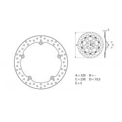 35700102 : Disque de frein avant Brembo NC700